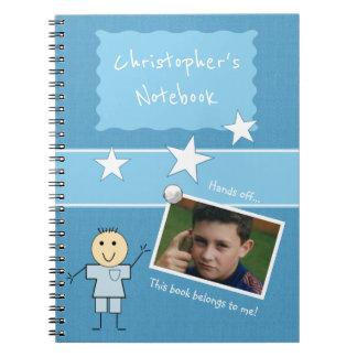 Cadernos Foto personalizada do azul dos miúdos