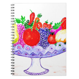 Cadernos Fruta na arte do vaso