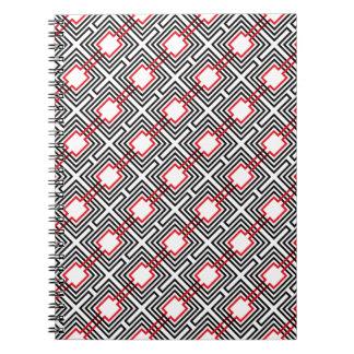 Cadernos Geométrico vermelho & branco preto