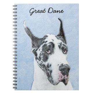 Cadernos Great dane (Harlequin) que pinta - arte original