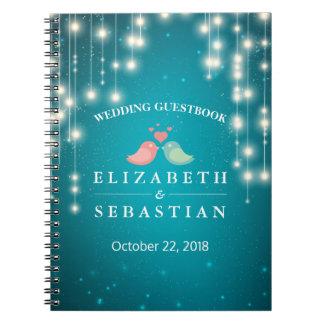 Cadernos Guestbook do casamento do brilho de turquesa das