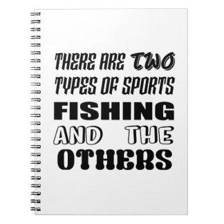 Cadernos Há dois tipos de pesca e de outro de esportes