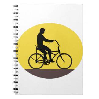 Cadernos Homem que monta o Oval fácil Retr da silhueta da