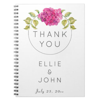 Cadernos Hydrangea do rosa quente do favor do casamento