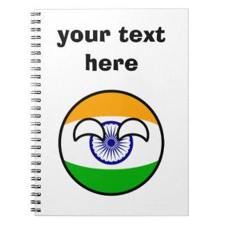 Cadernos India Geeky de tensão engraçado Countryball