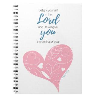 Cadernos Jornal da escritura do 37:4 do salmo