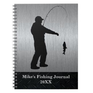 Cadernos Jornal preto e de prata da pesca