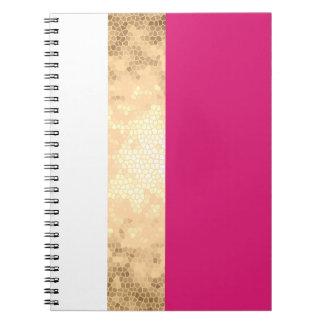 Cadernos listras claras elegantes do branco do rosa do ouro