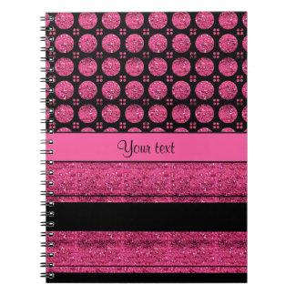 Cadernos Listras do rosa quente e pontos do brilho