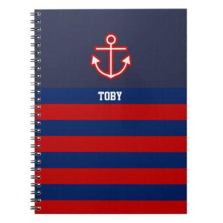 Cadernos Listras náuticas feitas sob encomenda do vermelho