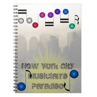 Cadernos Livros dos músicos da música da skyline NYC da