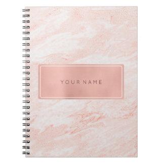 Cadernos Mármore metálico do pó retangular do ouro do rosa