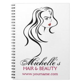 Cadernos Menina bonita com ícone do cabelo ondulado e da