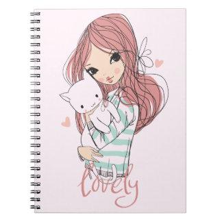 Cadernos Menina de cabelo vermelha e seu gato pequeno