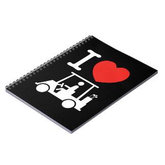 Cadernos Mim carro de golfe do coração (amor)
