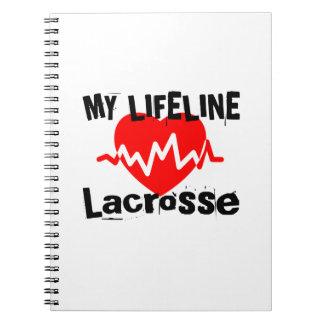 Cadernos Minha linha de vida Lacrosse ostenta o design