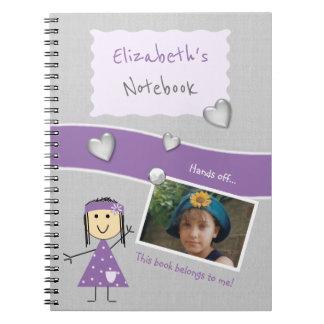 Cadernos Miúdos personalizados roxos e foto cinzenta
