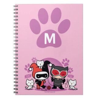 Cadernos Monograma Chibi Harley Quinn & mulher-gato com