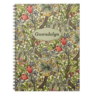 Cadernos Monograma personalizado floral do vintage de