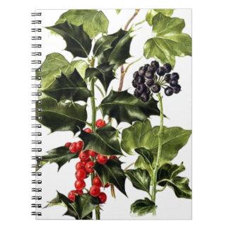 Cadernos Natal do design do azevinho e da hera