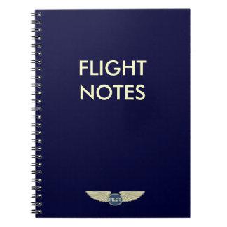 Cadernos Notas piloto do vôo