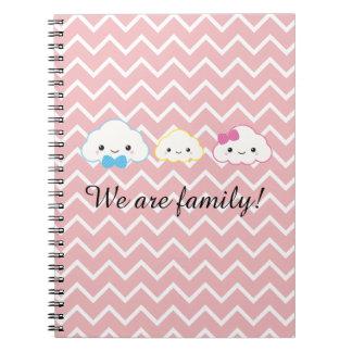 Cadernos Nuvem da família de Kawaii