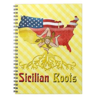 Cadernos O americano siciliano enraíza o bloco de notas
