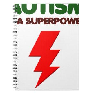 Cadernos O autismo é poder super, crianças, miúdos,