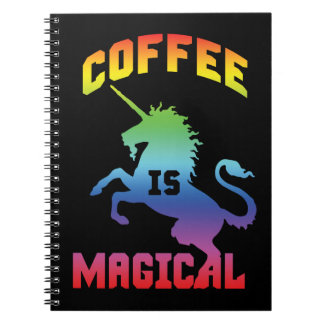 Cadernos O café é mágico - unicórnio engraçado da cafeína