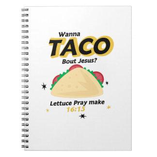 Cadernos O Taco engraçado quer ao cristão de Jesus do Taco