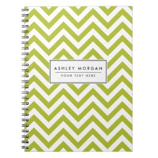 Cadernos O ziguezague verde e branco listra o teste padrão