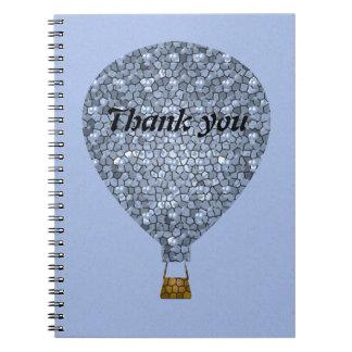 Cadernos Obrigado reunião do balão de ar quente do mosaico