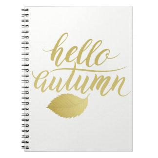 Cadernos Olá! roteiro da escova do ouro do falso de Atumn |