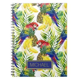 Cadernos Os papagaios e a fruta tropical   adicionam seu