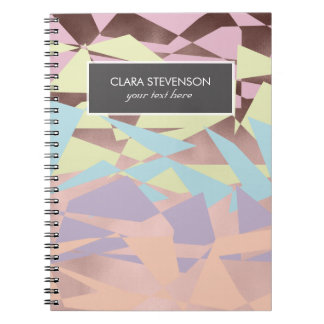 Cadernos ouro cor-de-rosa do bloco elegante da cor pastel