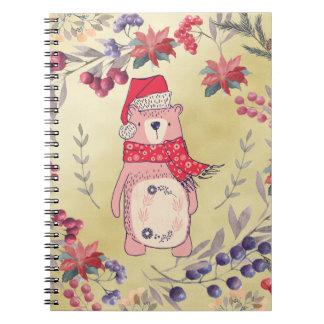 Cadernos Ouro das bagas da aguarela do urso do Natal