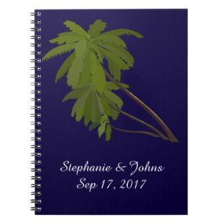 Cadernos Palmeiras tropicais do noivo da noiva do casamento