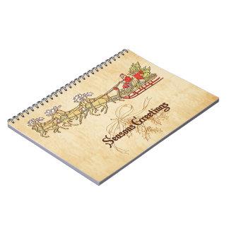 Cadernos Papai noel trenó e cumprimentos das estações da