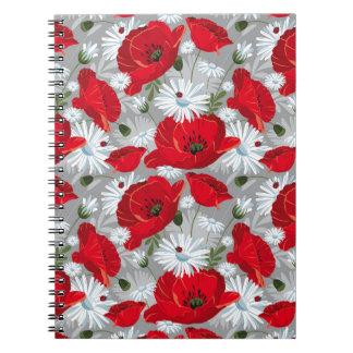 Cadernos Papoila vermelha bonita, margaridas brancas e
