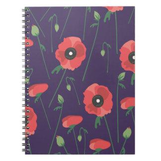 Cadernos Papoilas de florescência da primavera roxas