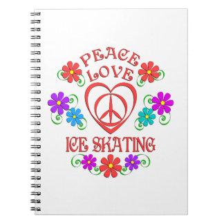 Cadernos Patinagem no gelo do amor da paz