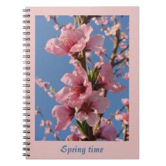 Cadernos Pêssego de florescência dos pomares na flor na