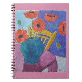 Cadernos Pintura colorida da papoila