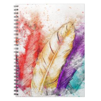 Cadernos Pintura colorida da pena quatro como projetado