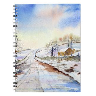 Cadernos Pintura de paisagem invernal da aguarela da pista