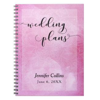 Cadernos Planejador cor-de-rosa do casamento da tipografia