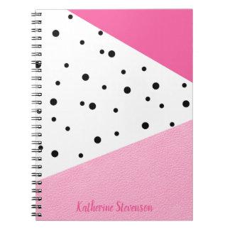 Cadernos Pontos pretos de couro cor-de-rosa geométricos