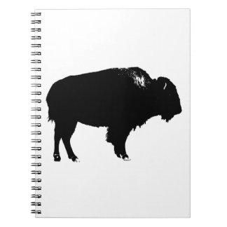 Cadernos Pop art preto & branco da silhueta do búfalo do
