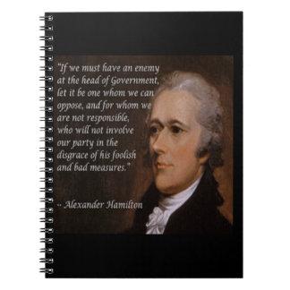 """Cadernos """"Presente do líder inimigo"""" de Alexander Hamilton"""