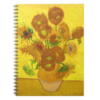 Cadernos Quinze girassóis em um vaso